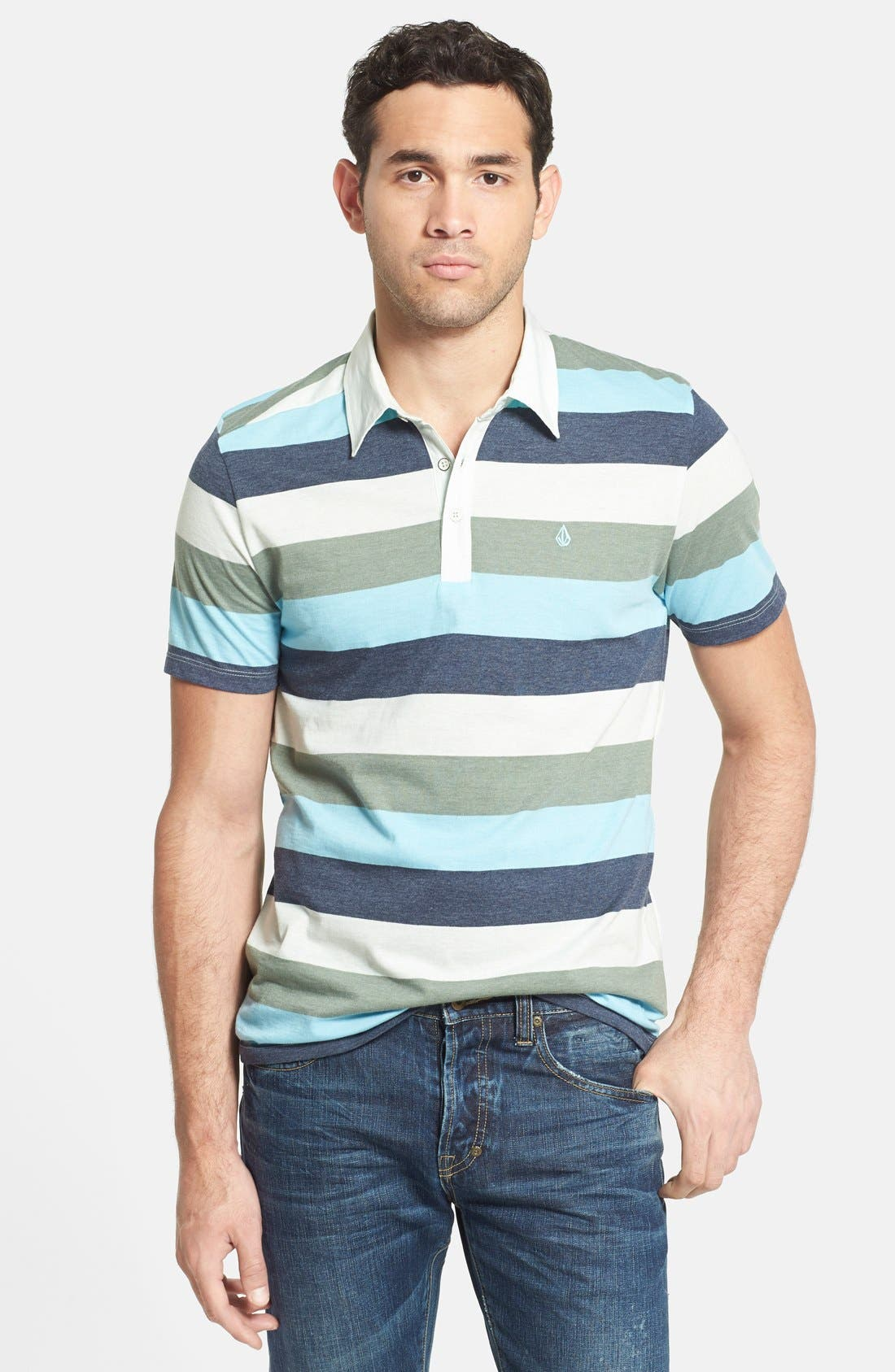 Alternate Image 1 Selected - Volcom 'Paco' Stripe Jersey Polo