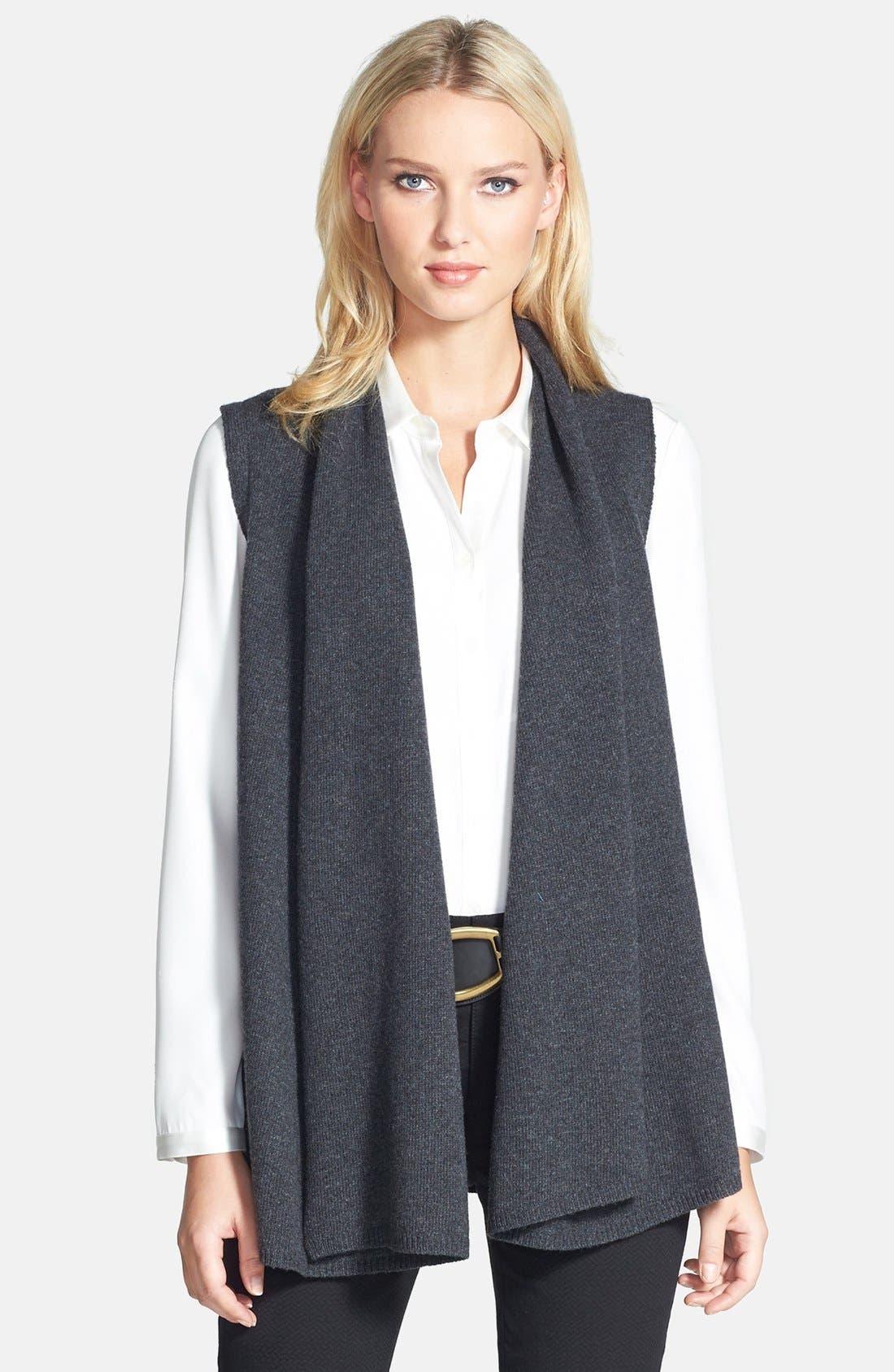 Alternate Image 1 Selected - Lafayette 148 New York Leather Back Merino & Cashmere Vest (Plus Size)