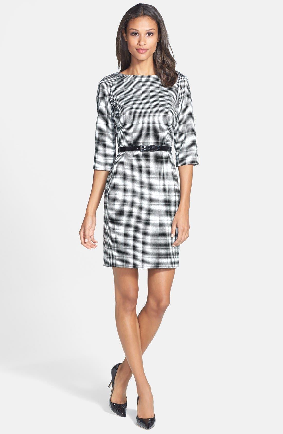 Main Image - Anne Klein Gingham Ponte Sheath Dress (Regular & Petite)
