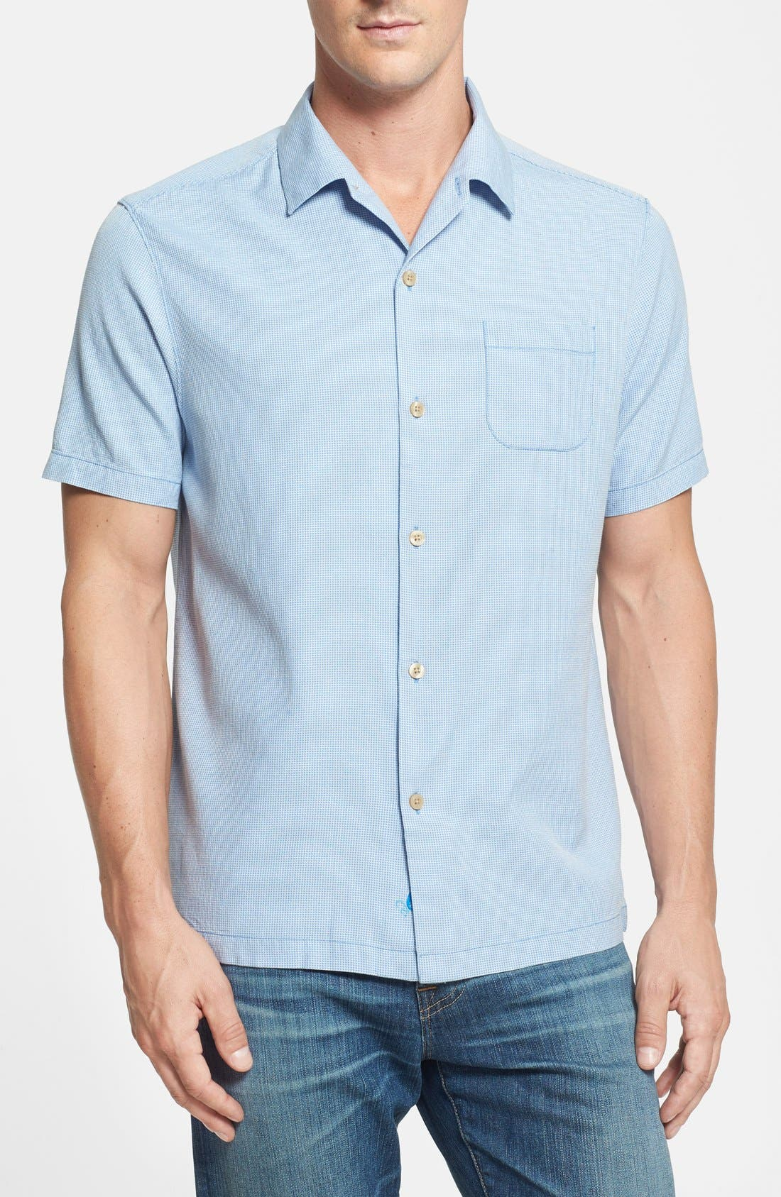 Main Image - Tommy Bahama 'Pacific Square' Island Modern Fit Silk & Cotton Campshirt