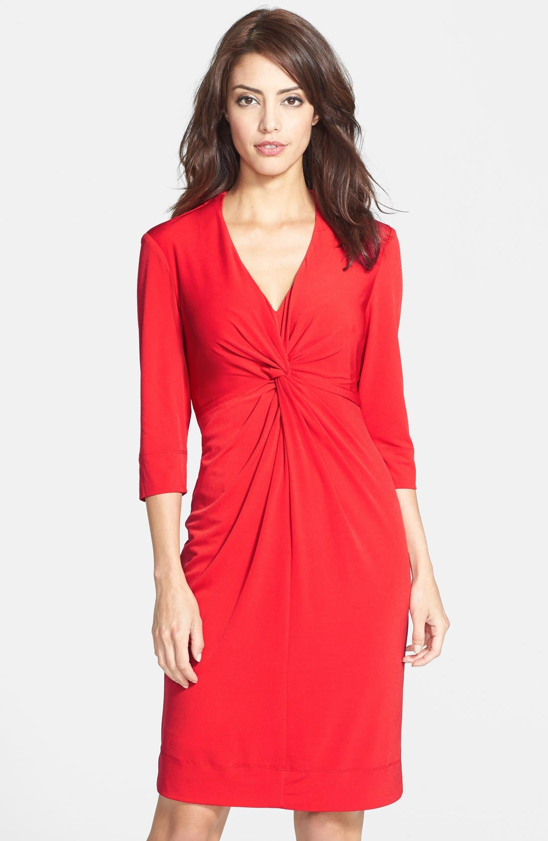 Main Image - Donna Ricco Twist Front Jersey Sheath Dress