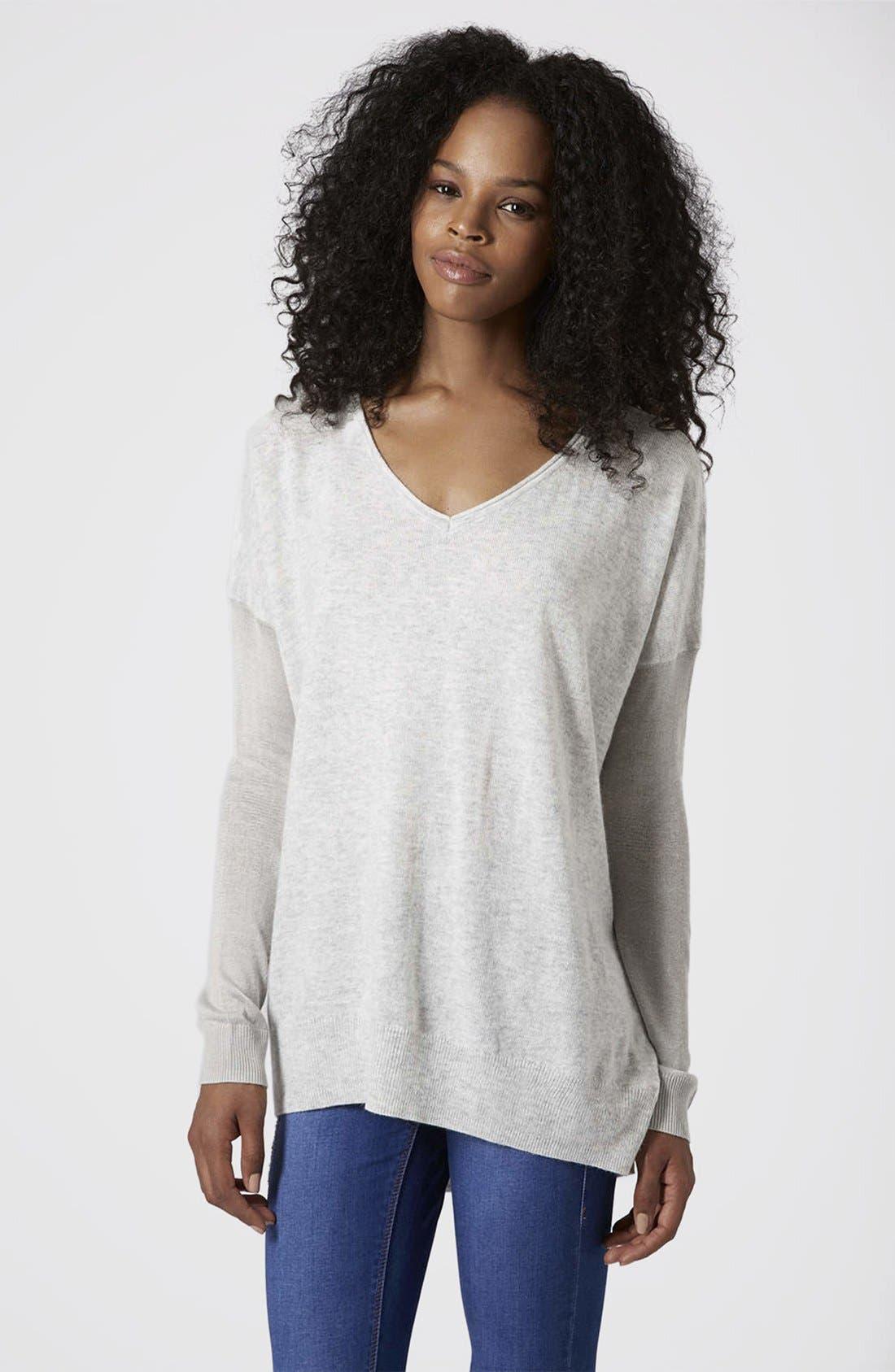 Alternate Image 1 Selected - Topshop Asymmetrical V-Neck Sweater