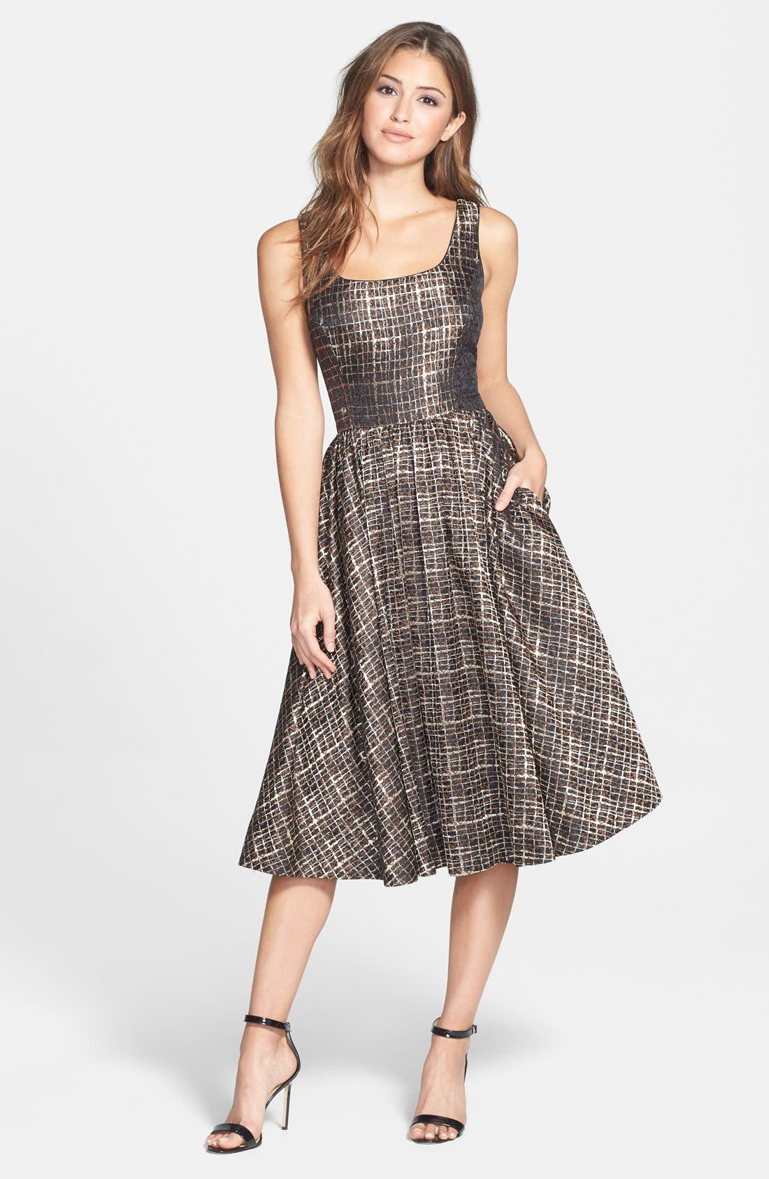 Main Image - Donna Morgan Metallic Jacquard Midi Fit & Flare Dress