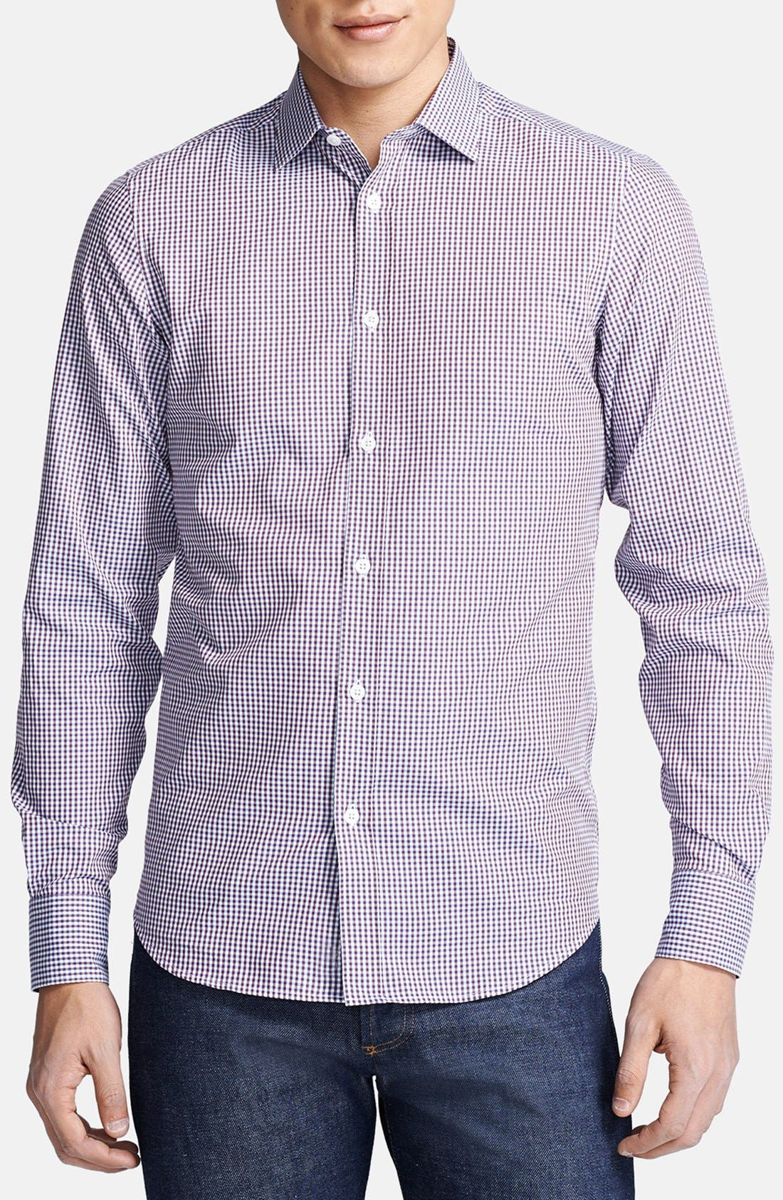 Alternate Image 1 Selected - Z Zegna Microcheck Sport Shirt
