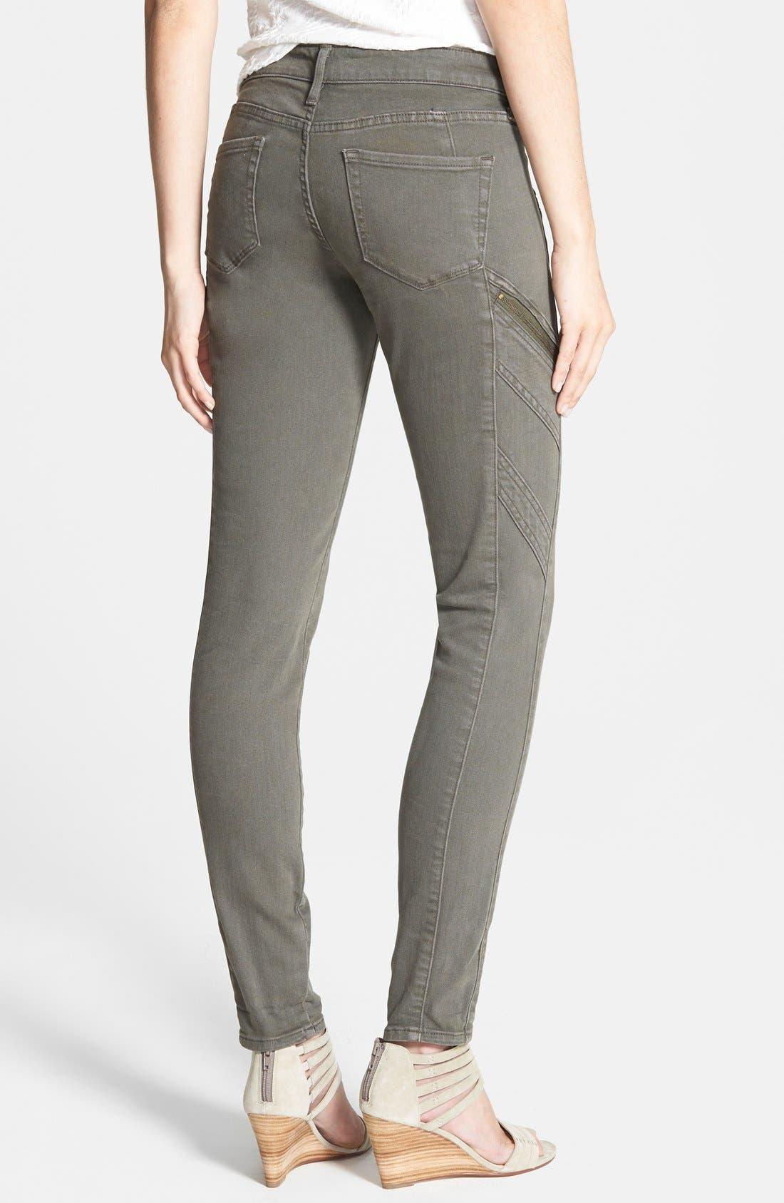 Alternate Image 2  - Treasure&Bond Zip Skinny Jeans (Olive Tarmac)