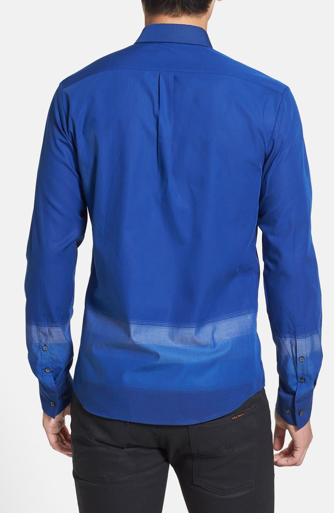 Alternate Image 2  - HUGO 'Ero' Extra Trim Fit Ombré Stripe Sport Shirt