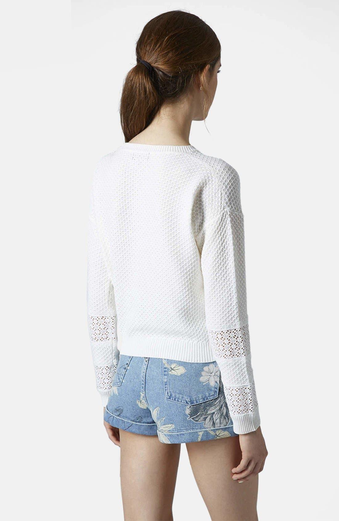 Alternate Image 2  - Topshop Lace Stripe Sweater