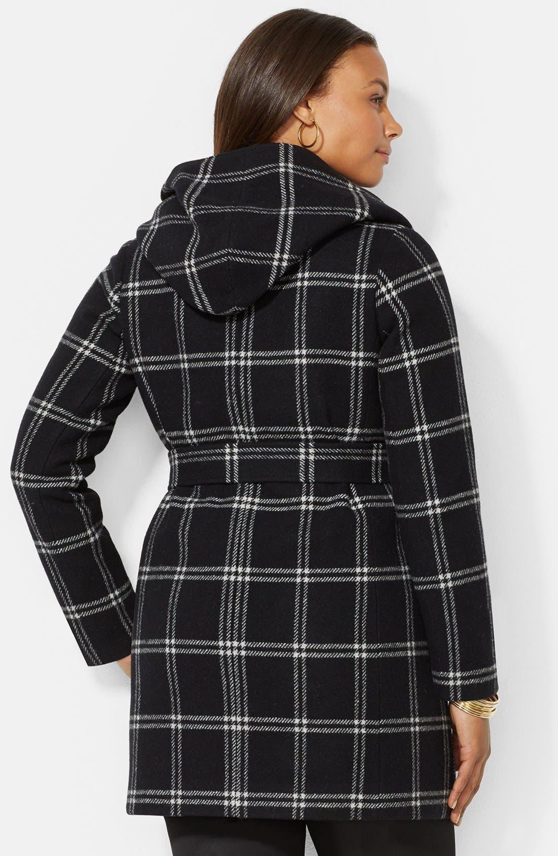 Alternate Image 2  - Lauren Ralph Lauren Windowpane Plaid Hooded Wrap Coat (Plus Size)