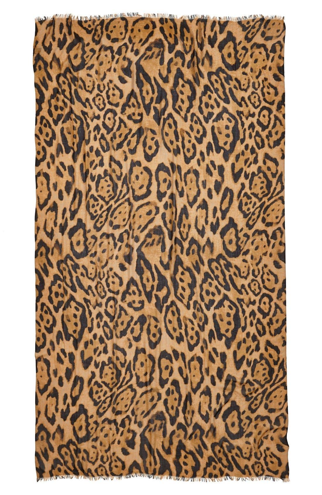 Alternate Image 2  - Roffe Accessories Leopard Print Scarf