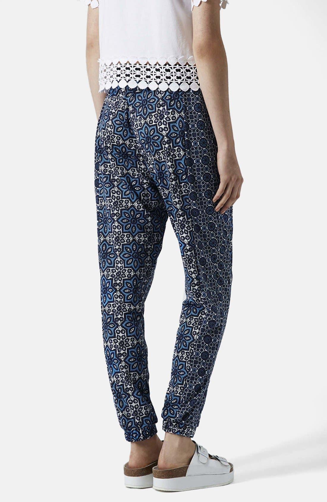 Alternate Image 2  - Topshop Tile Print Jersey Trousers