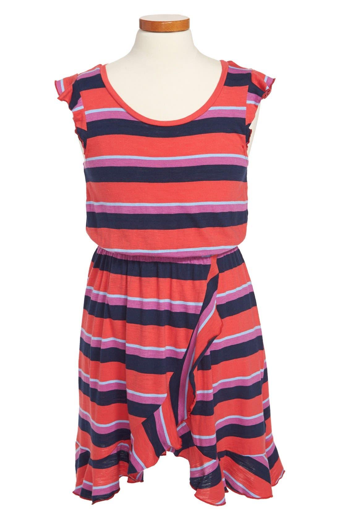 Alternate Image 1 Selected - Splendid 'Wow' Stripe Flutter Sleeve Dress (Big Girls)