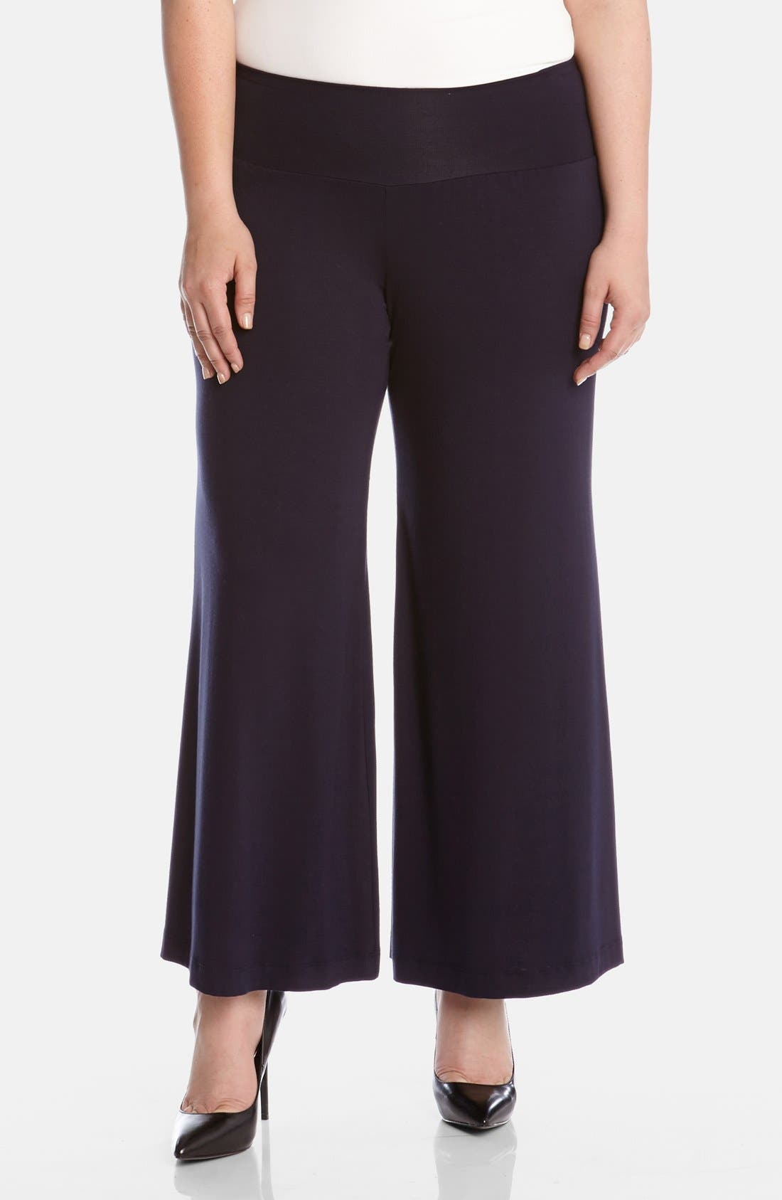 Main Image - Karen Kane Knit Palazzo Pants (Plus)