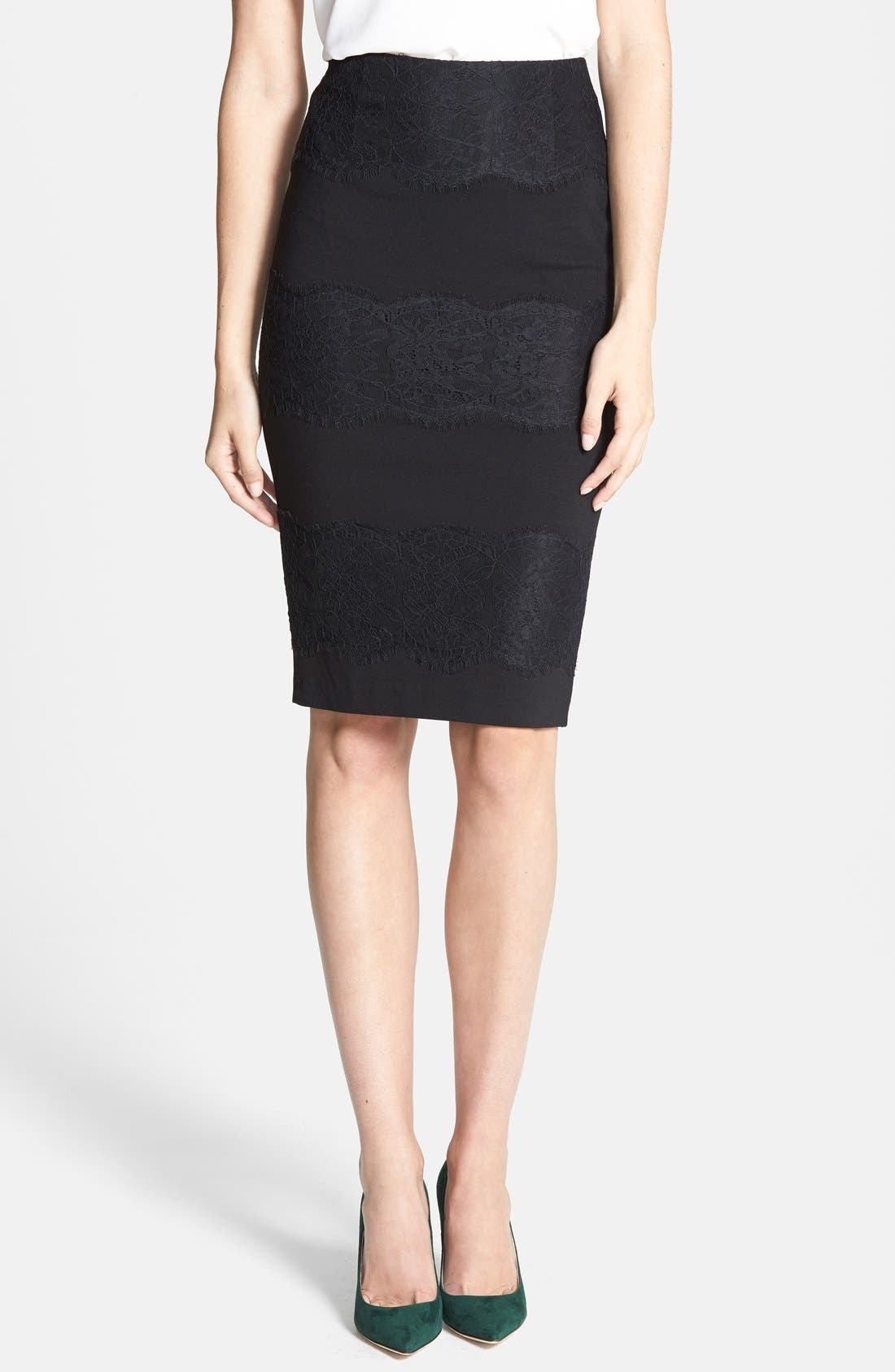 Main Image - 1.STATE Lace Panel Ponte Skirt