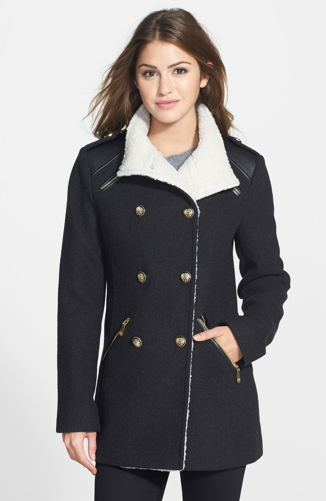 Main Image - Vince Camuto Textured Double Breasted Wool Blend Coat (Online Only)