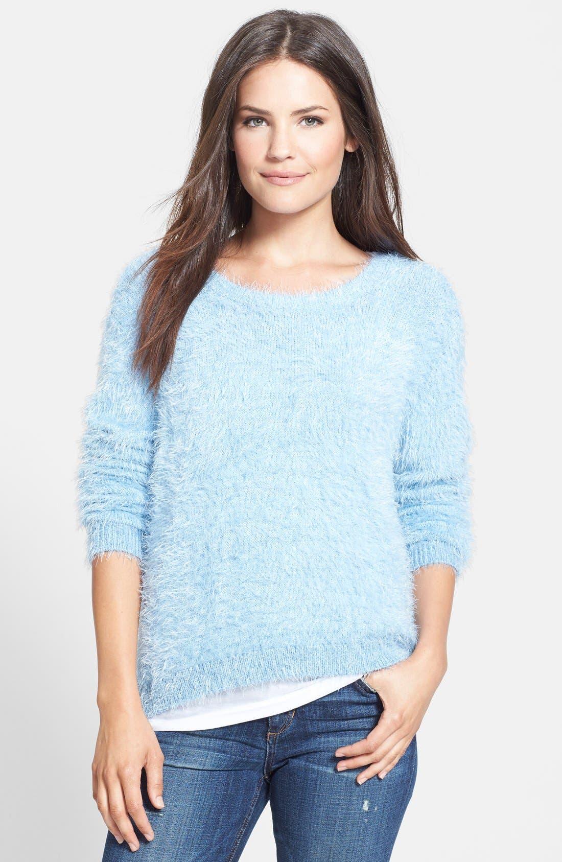 Alternate Image 1 Selected - Vince Camuto Eyelash Knit Sweater (Petite)