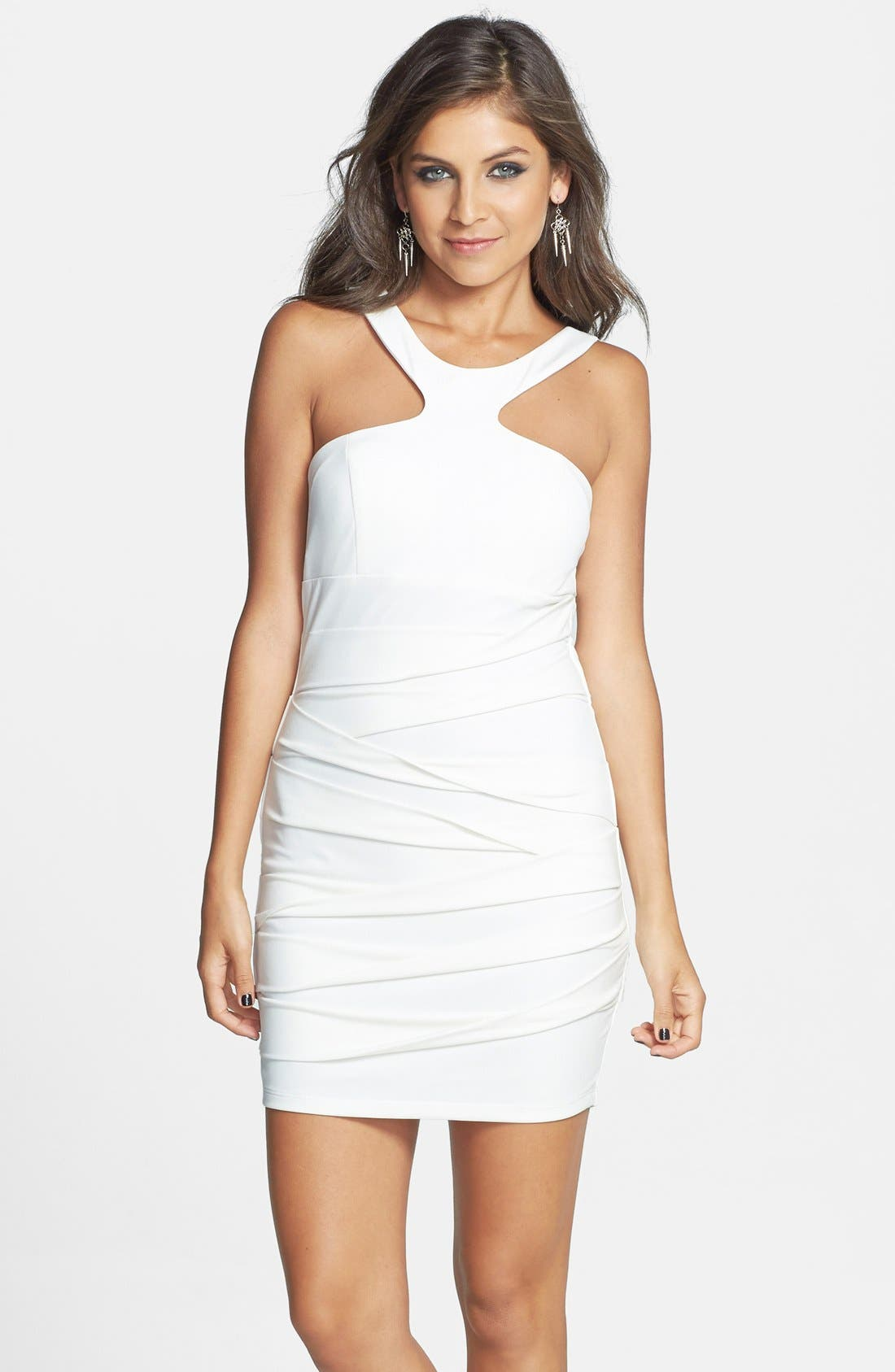 Main Image - Way-In Halter Body-Con Dress (Juniors)