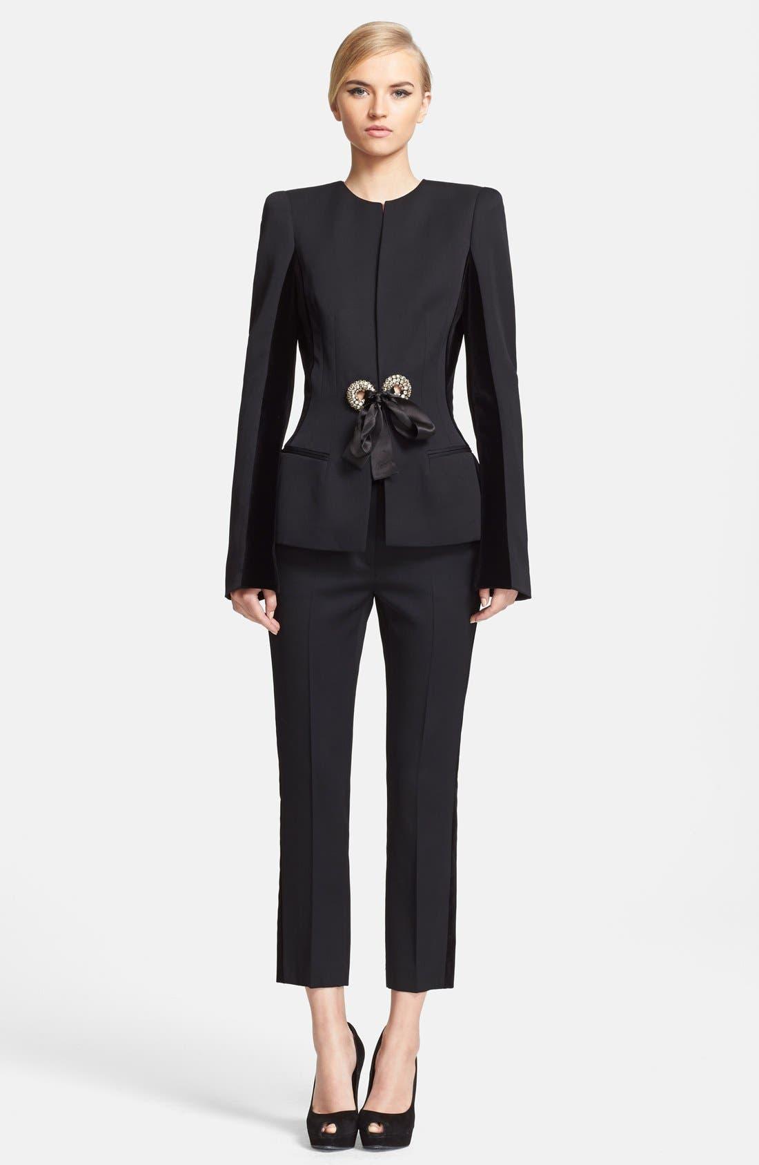 Alternate Image 5  - Alexander McQueen Velvet & Grain de Poudre Crop Pants