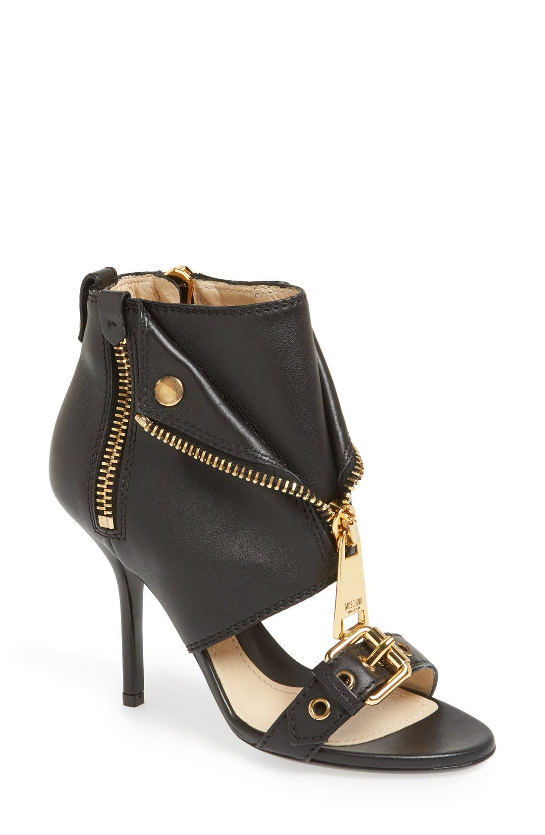 Alternate Image 1 Selected - Moschino 'Moto Jacket' Italian Calfskin Sandal (Women)