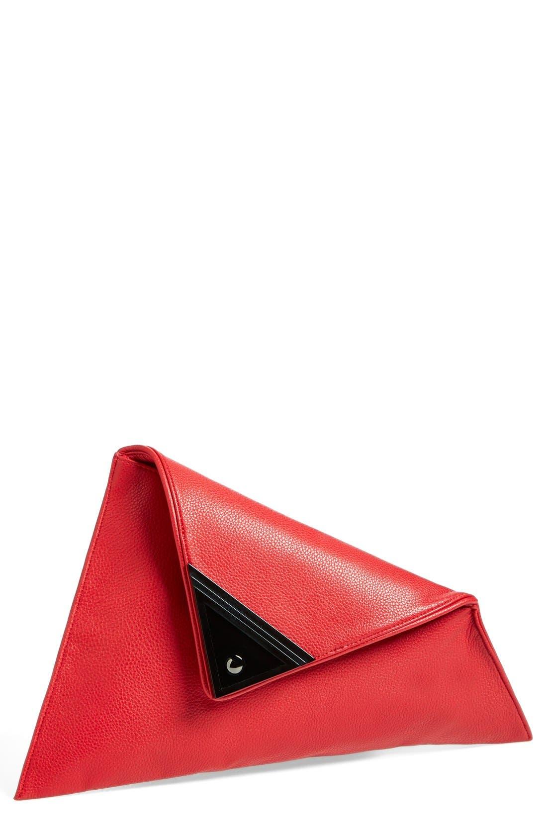 Main Image - Sondra Roberts 'Modern Prep' Faux Leather Triangle Clutch
