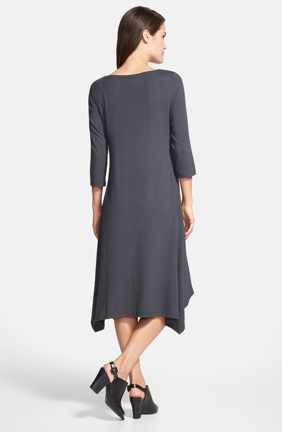 Alternate Image 2  - Eileen Fisher Ballet Neck Handkerchief Hem Jersey Dress