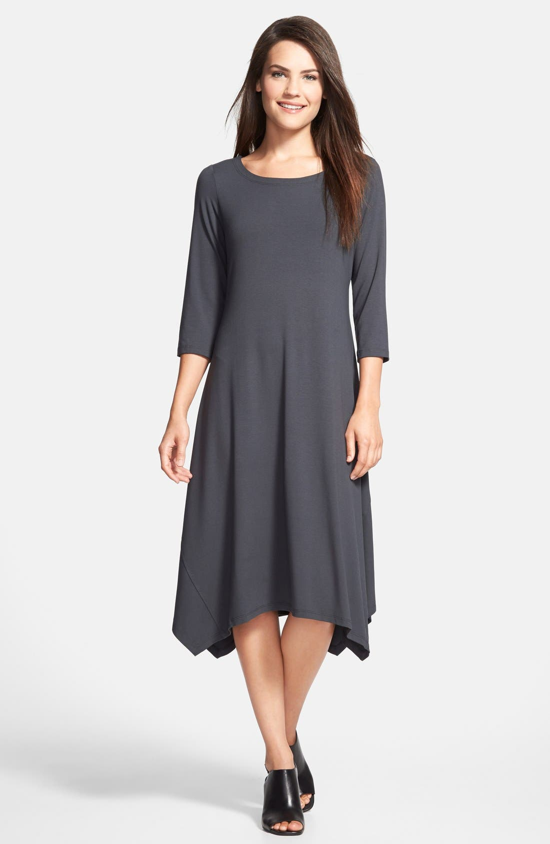 Main Image - Eileen Fisher Ballet Neck Handkerchief Hem Jersey Dress
