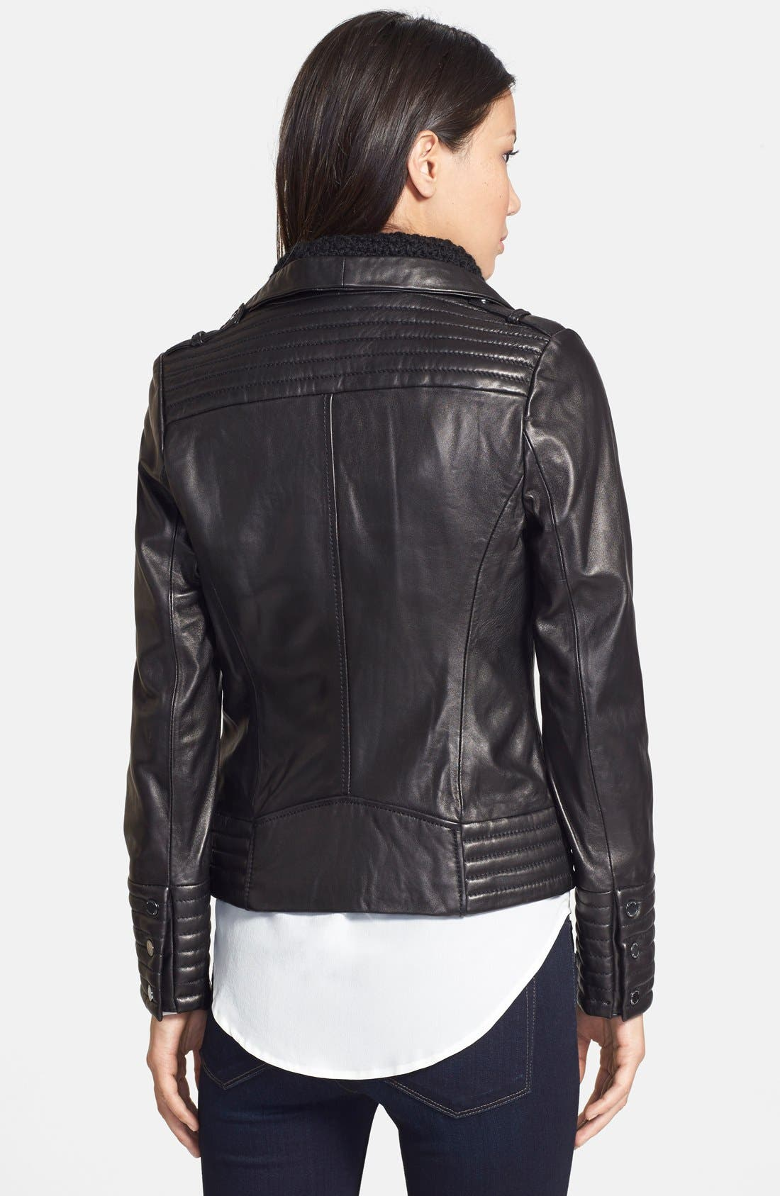 Alternate Image 2  - MICHAEL Michael Kors Knit Collar Leather Jacket (Online Only)