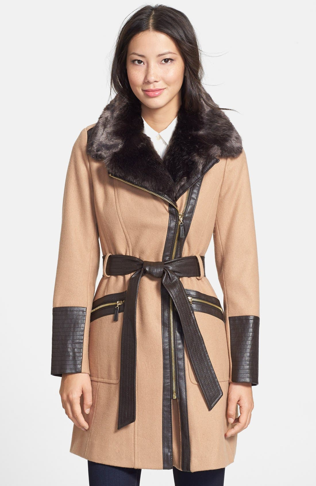 Main Image - Via Spiga Faux Fur & Faux Leather Trim Asymmetrical Belted Coat (Online Only)