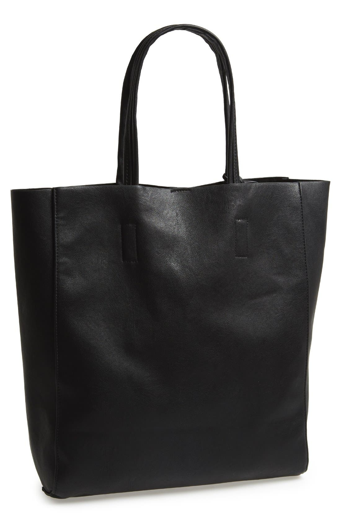 Main Image - Street Level Structured Faux Leather Tote (Juniors)