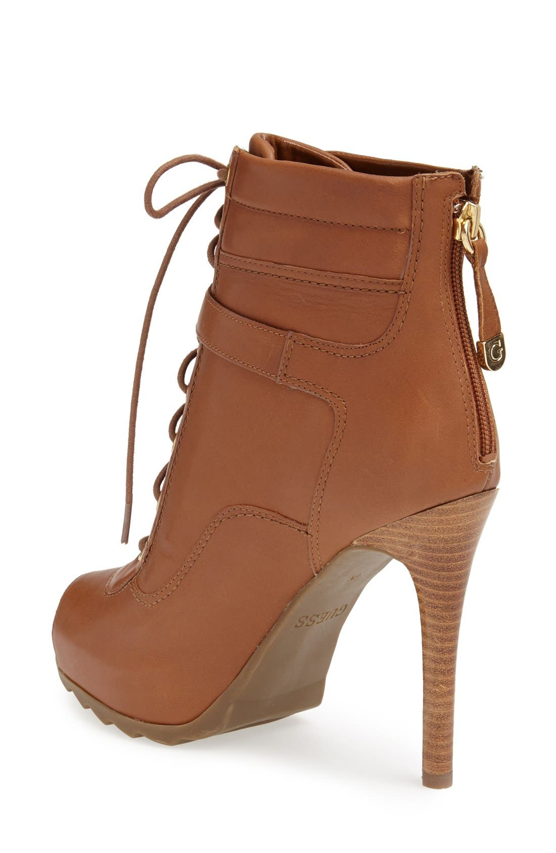 Alternate Image 2  - GUESS 'Bieinda' Peep Toe Lace-Up Bootie (Women)