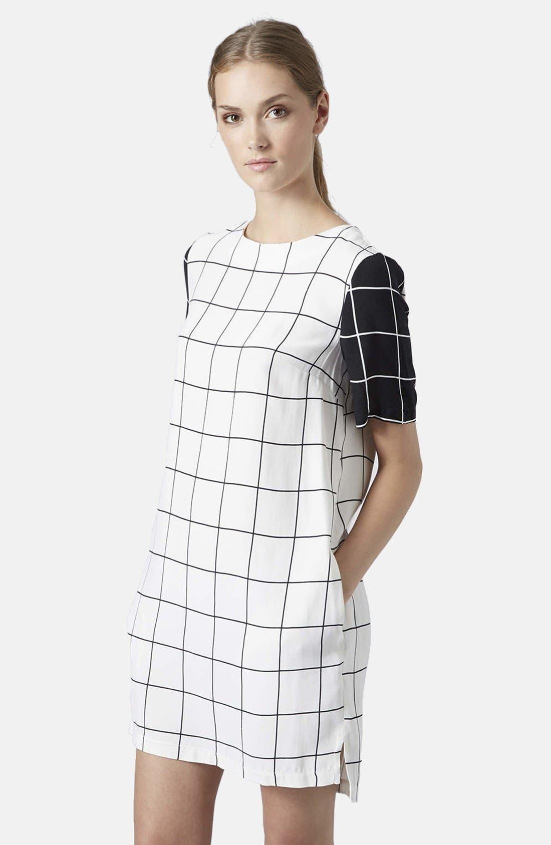 Main Image - Topshop Grid Print Tunic Dress