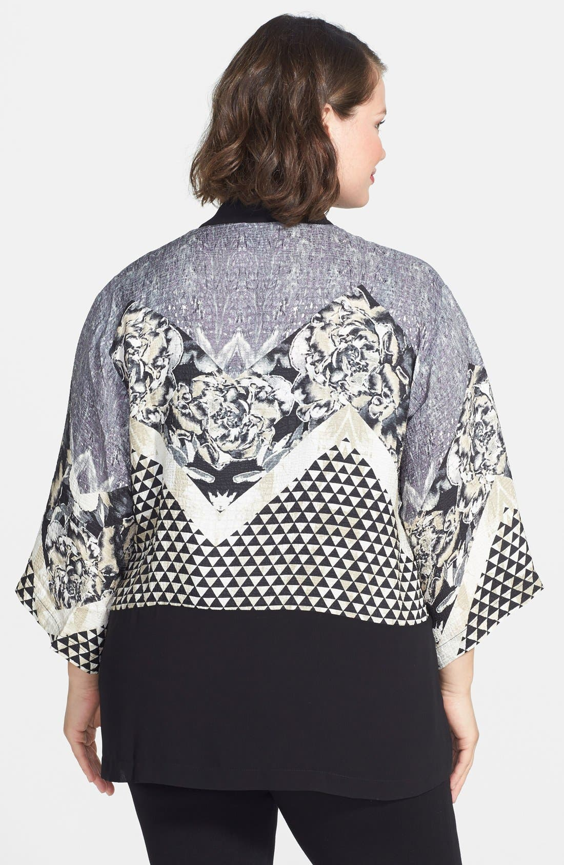 Alternate Image 2  - Citron Silk Kimono Jacket (Plus Size)