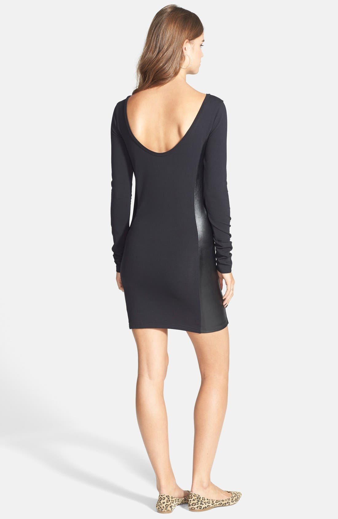 Alternate Image 2  - Frenchi® Faux Leather Panel Body-Con Dress (Juniors)