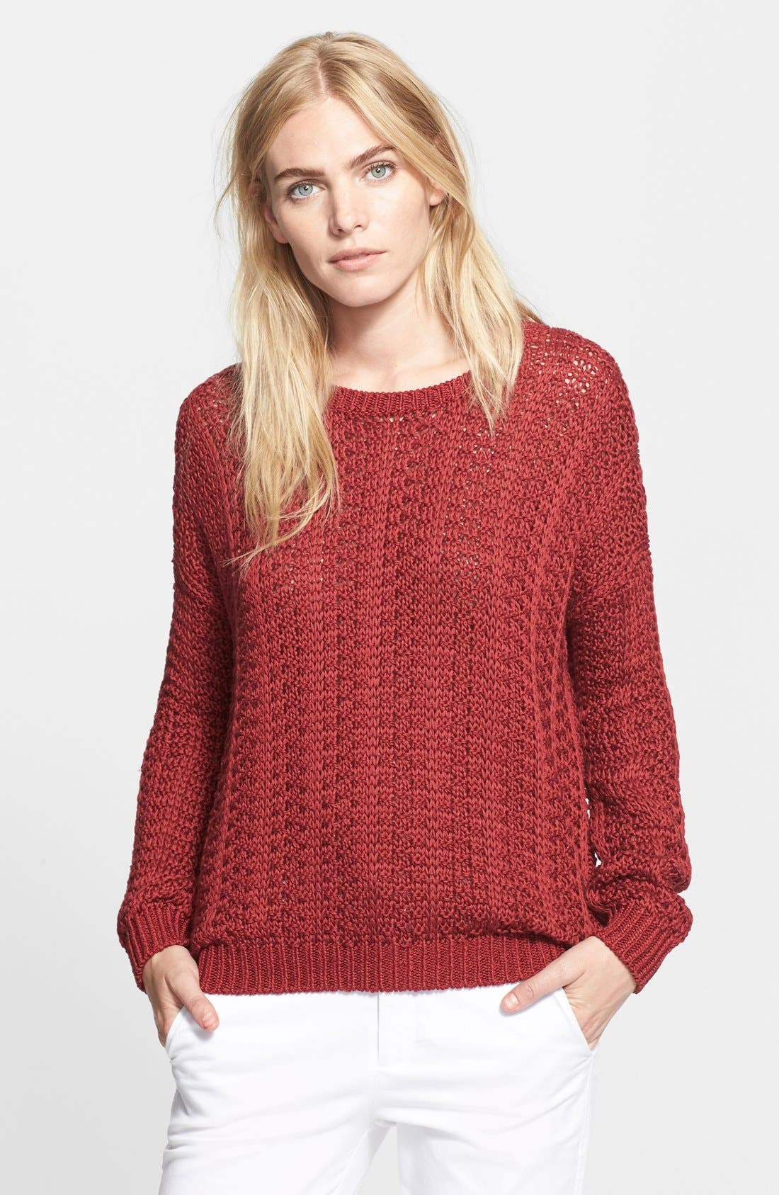 Alternate Image 1 Selected - Vince Mercerized Textured Sweater