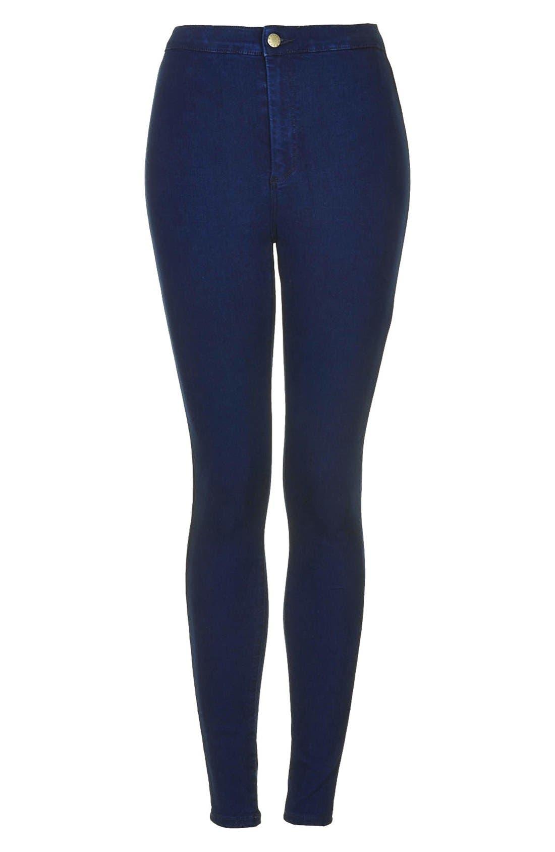 Alternate Image 3  - Topshop Moto 'Joni' High Waist Skinny Jeans (Blue)