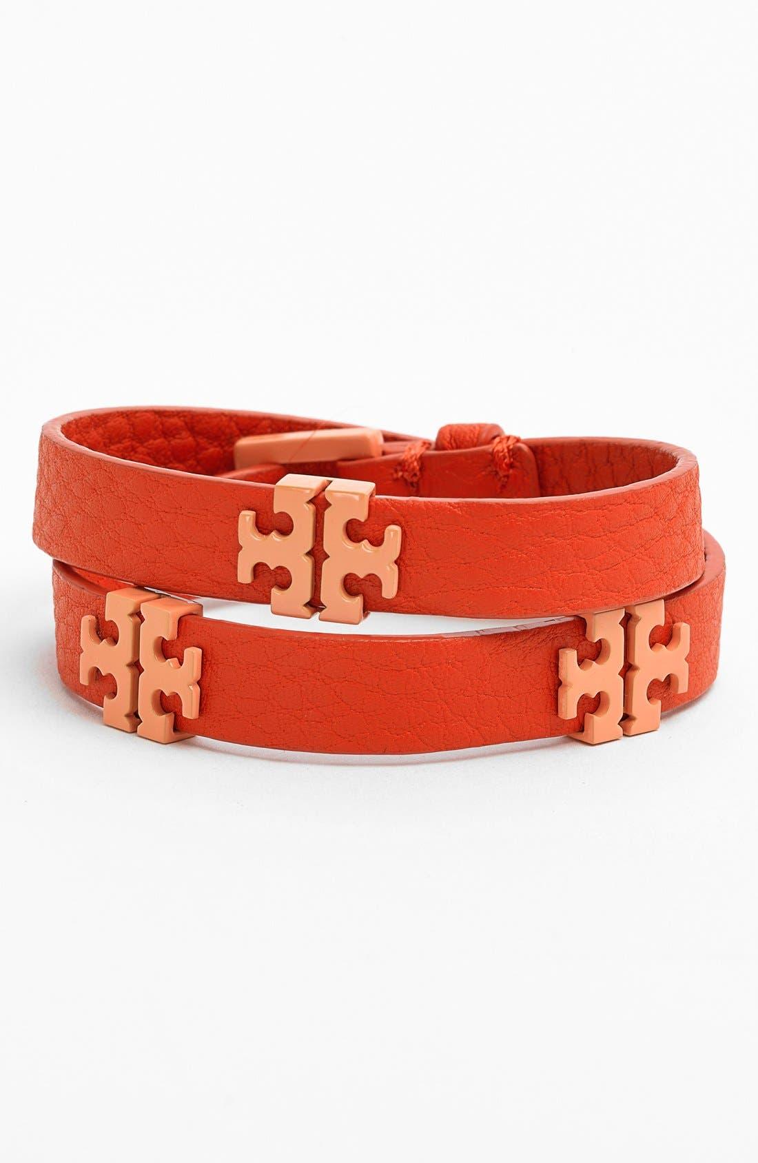 Main Image - Tory Burch 'Mini T' Leather Wrap Bracelet
