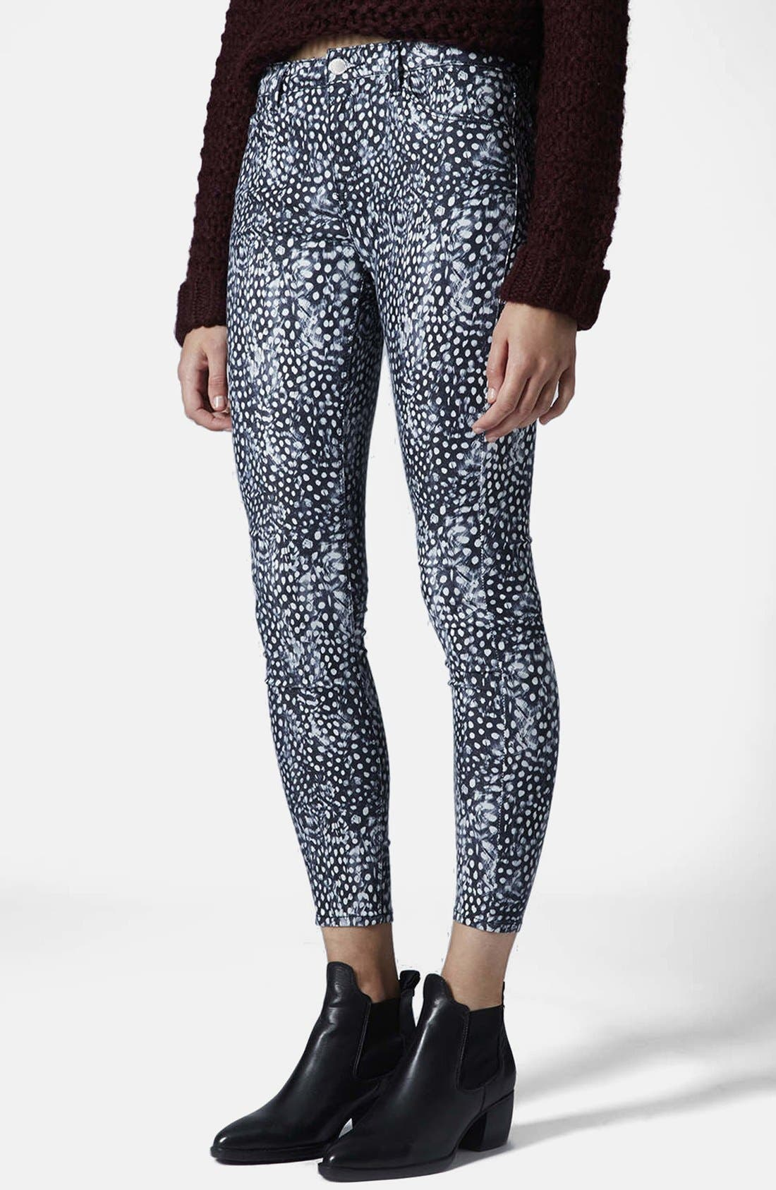 Main Image - Topshop Moto 'Leigh - Guinea Dot' Ankle Skinny Jeans