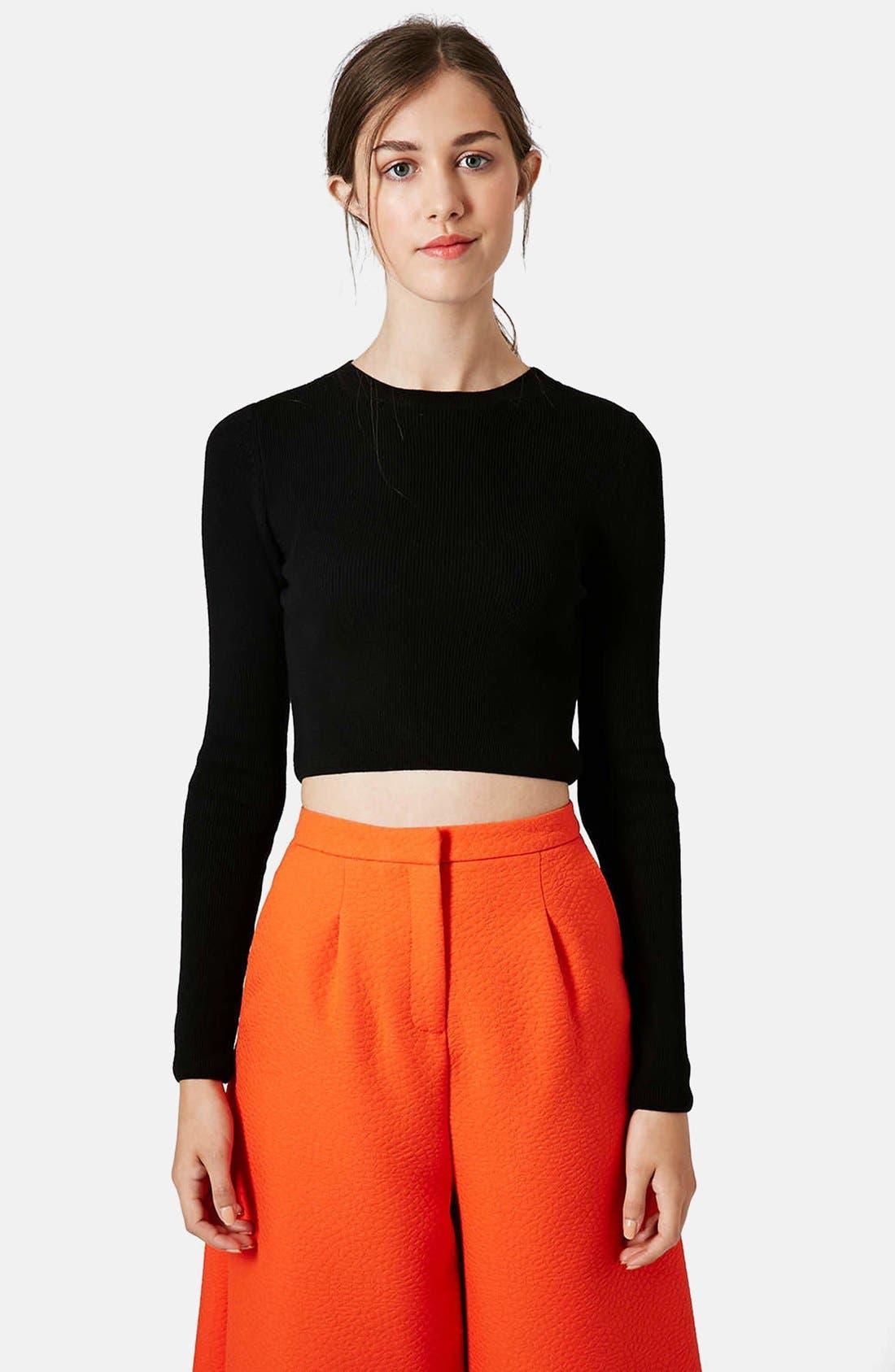 Main Image - Topshop Ribbed Crop Sweater
