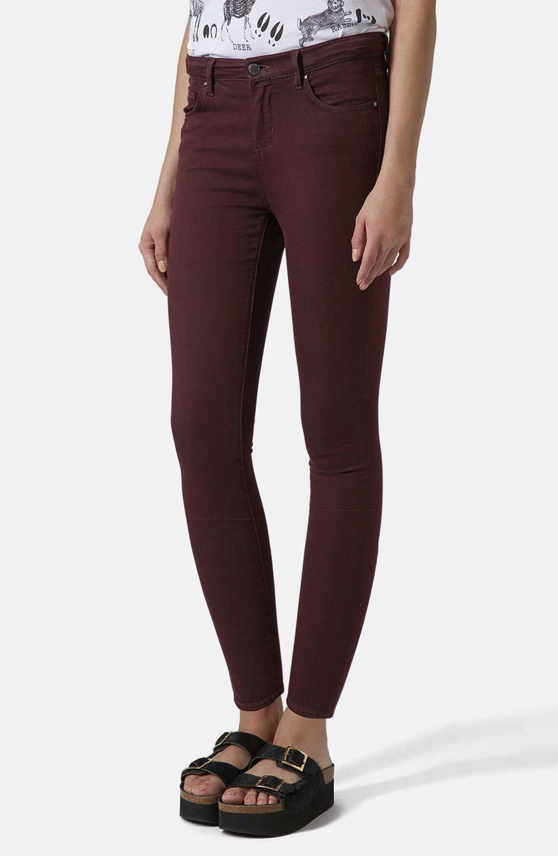Main Image - Topshop Moto 'Leigh' Stretch Ankle Skinny Jeans (Aubergine)