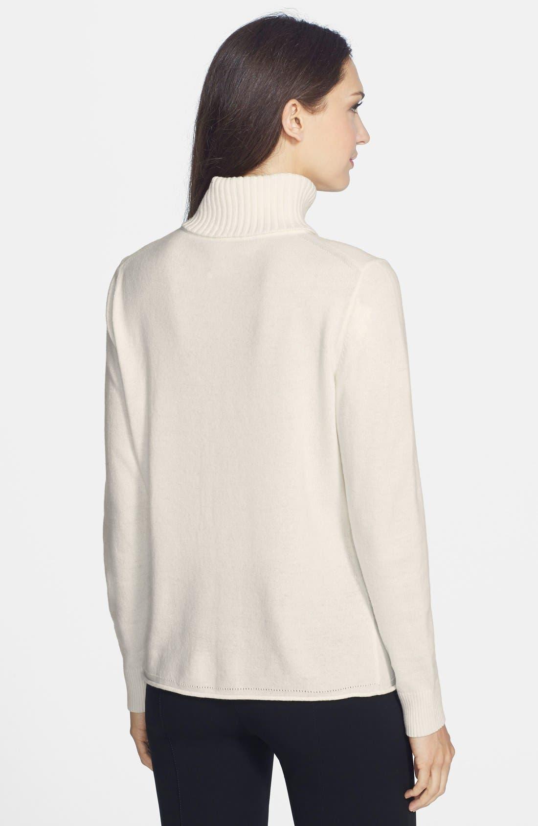 Alternate Image 2  - Lafayette 148 New York Cashmere Turtleneck Sweater
