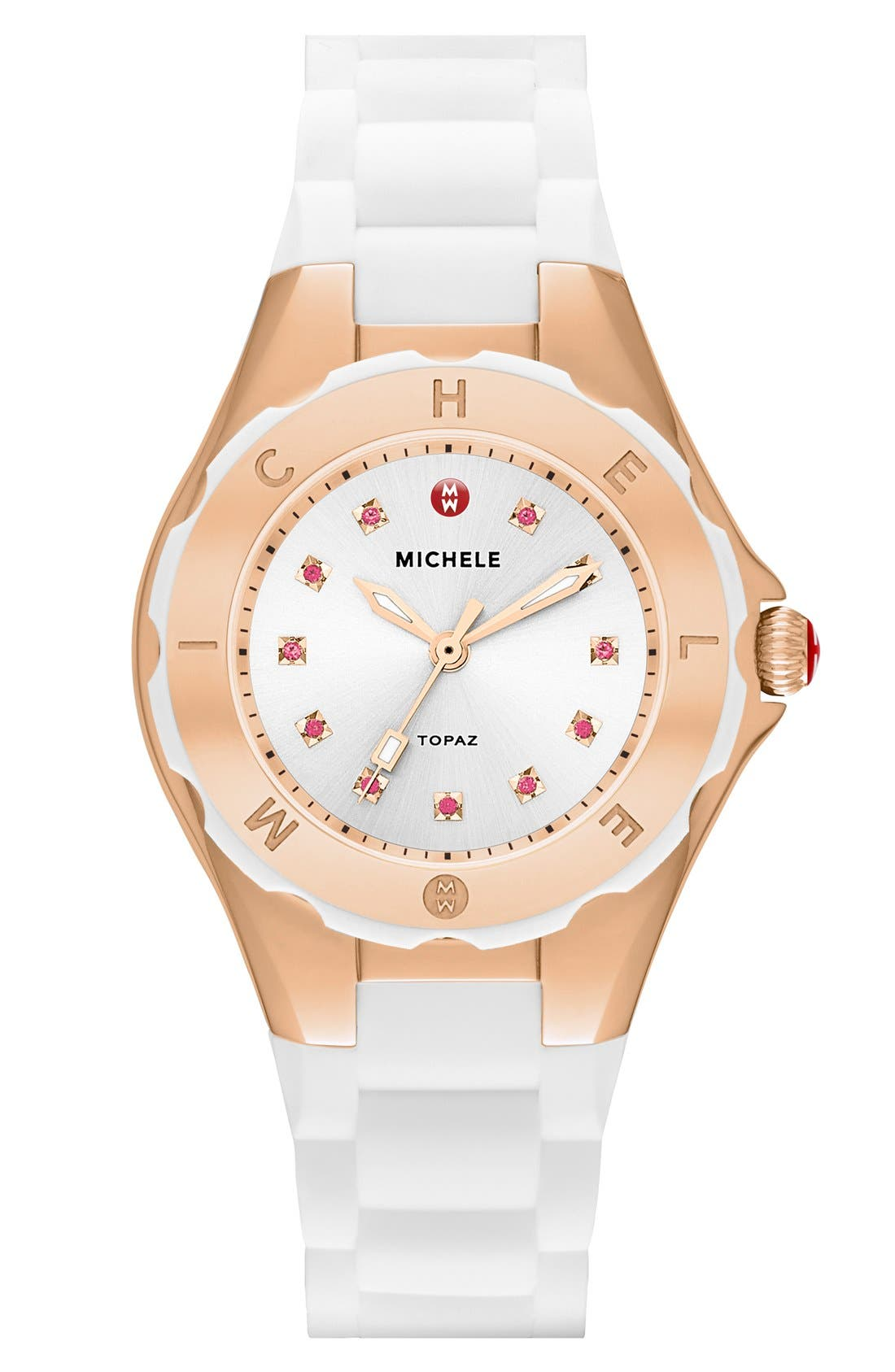 Main Image - MICHELE 'Tahitian Jelly Bean Petite' Silicone Strap Watch, 35mm