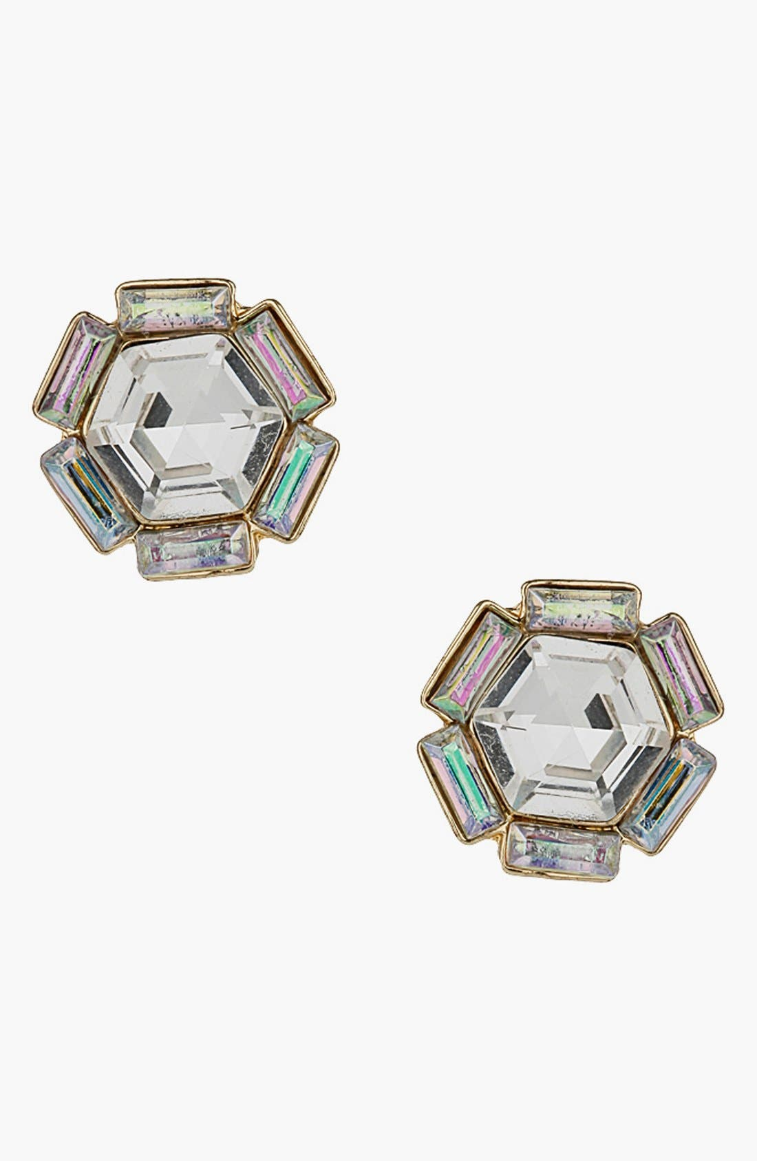 Main Image - Topshop Hexagon Rhinestone Stud Earrings