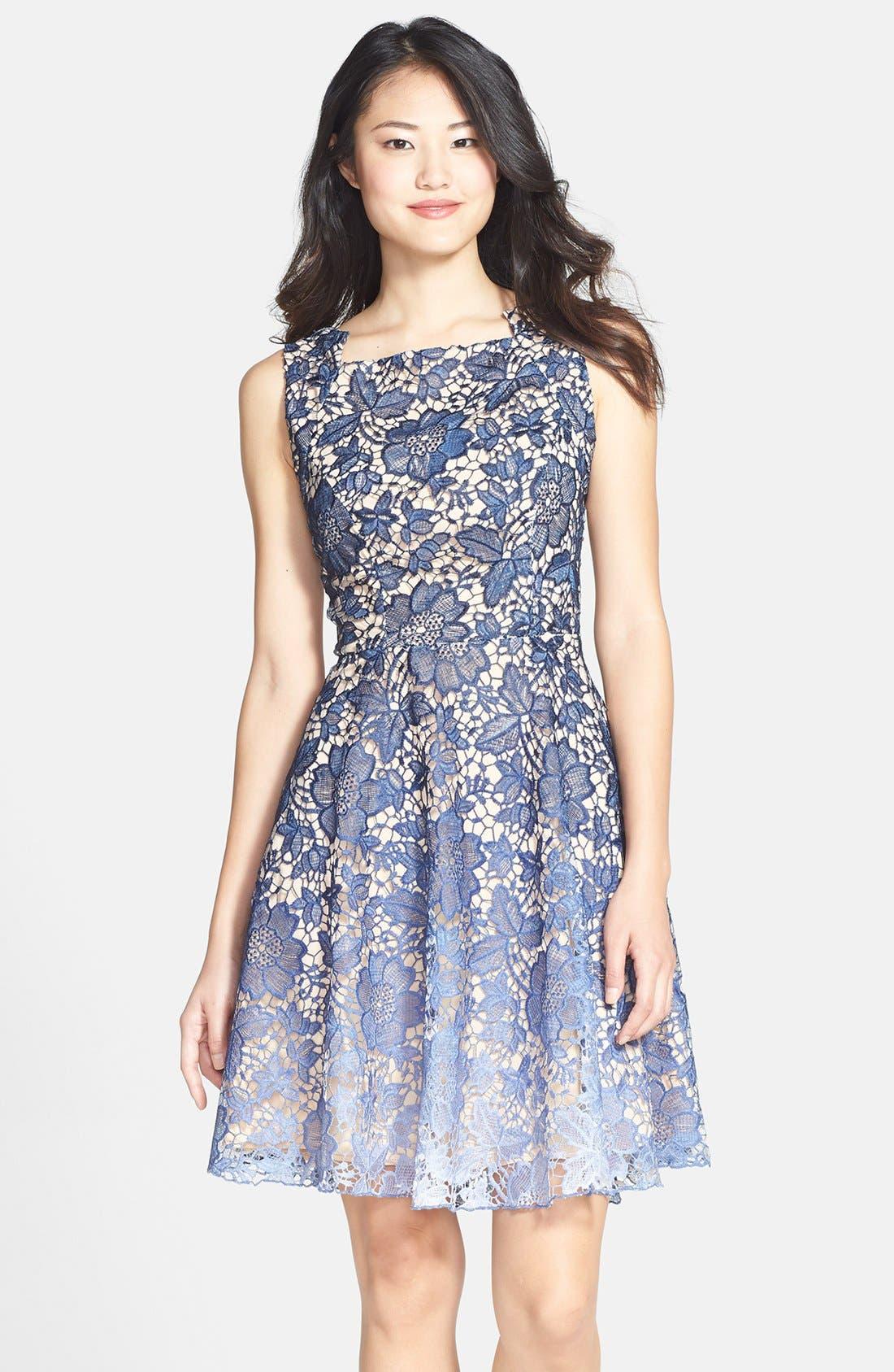 Main Image - Eva Franco 'Futura' Ombré Lace Fit & Flare Dress