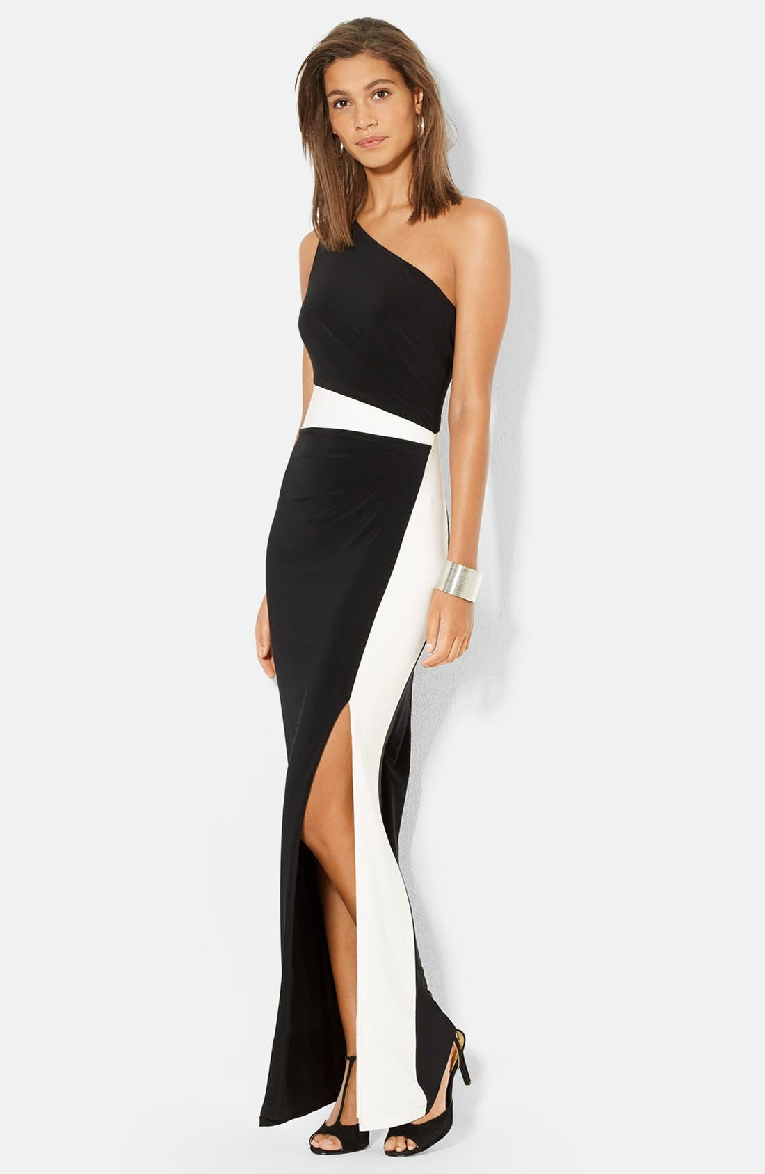 Main Image - Lauren Ralph Lauren One-Shoulder Two-Tone Jersey Gown