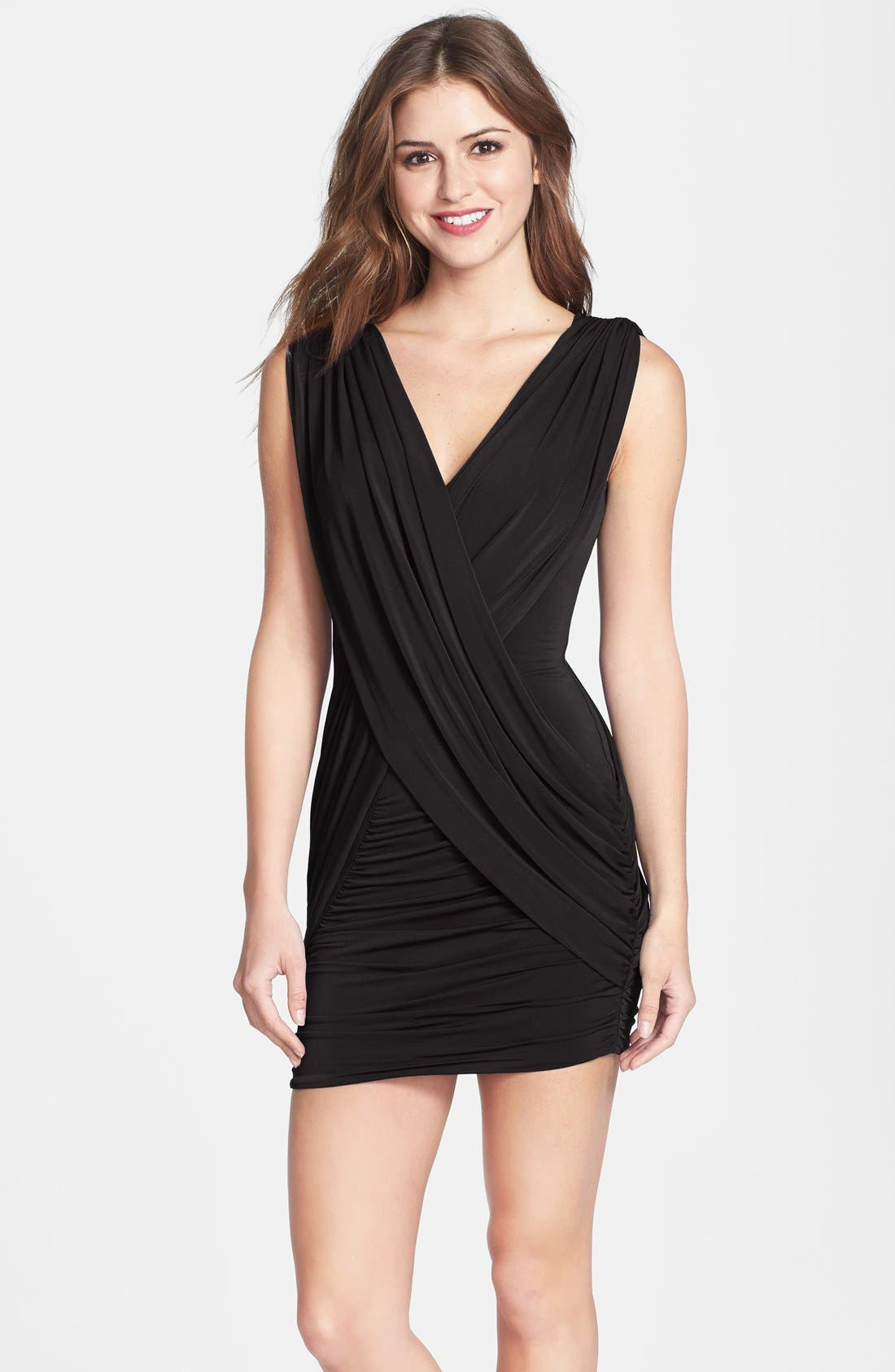 Alternate Image 1 Selected - BCBGMAXAZRIA Draped Jersey Minidress