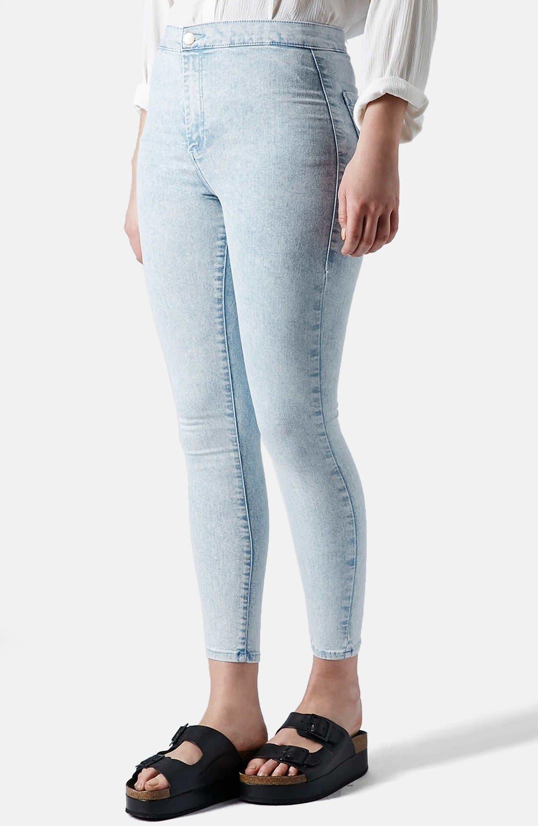 Main Image - Topshop 'Joni' Mottled Ultra Skinny Jeans (Bleach Stone)