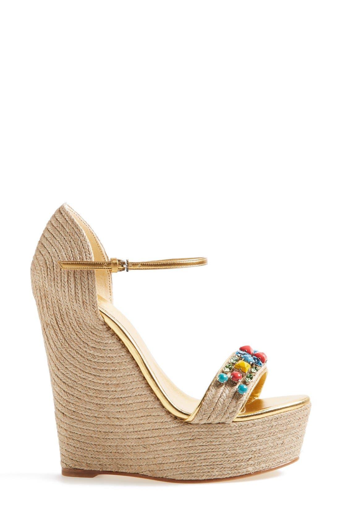 Alternate Image 4  - Gucci 'Carolina' Jeweled Wedge Sandal (Women)