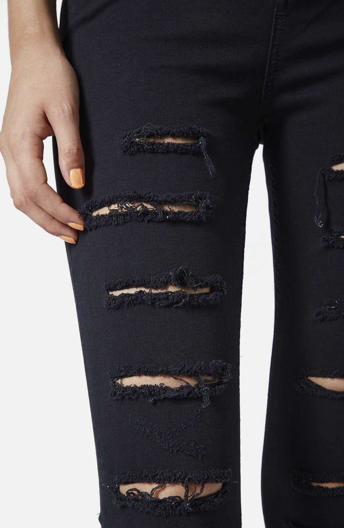 Alternate Image 4  - Topshop 'Jamie' Ripped High Rise Skinny Jeans (Black)
