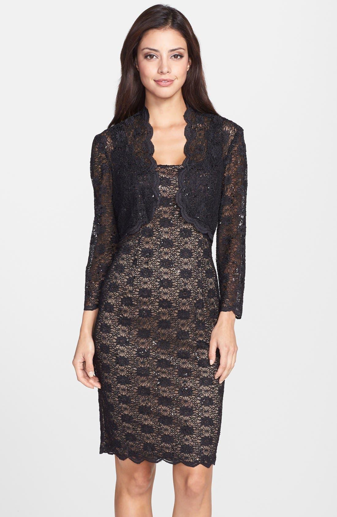 Alternate Image 1 Selected - Alex Evenings Sequin Lace Sheath Dress & Bolero