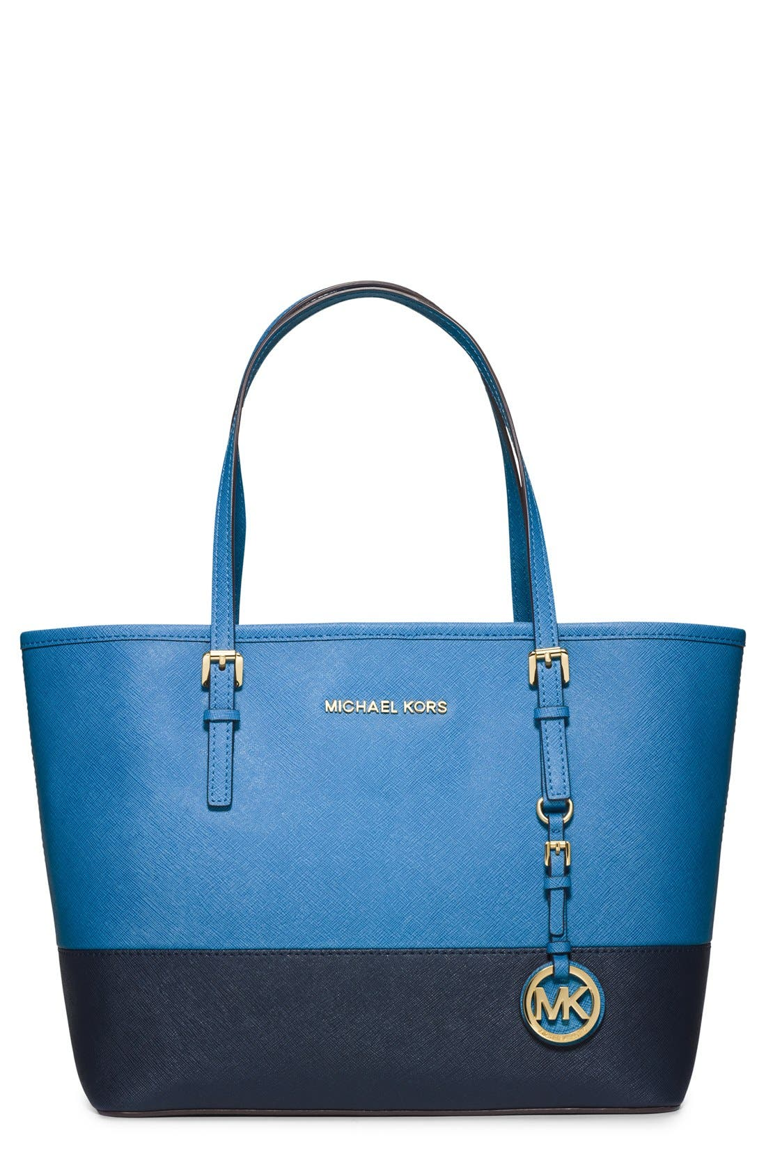 Alternate Image 1 Selected - MICHAEL Michael Kors 'Small Jet Set' Saffiano Leather Travel Tote