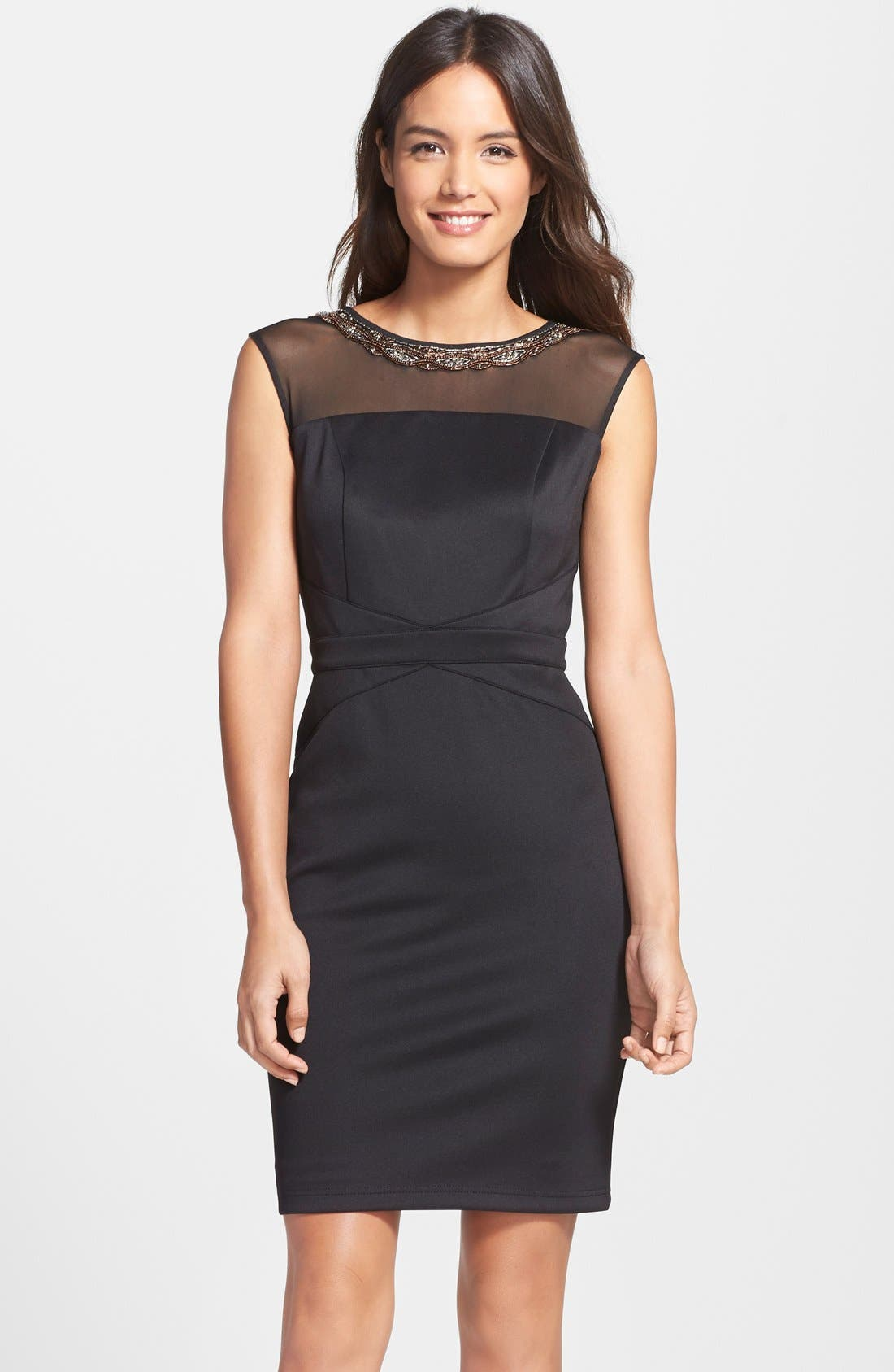 Main Image - Ellen Tracy Beaded Scuba Sheath dress